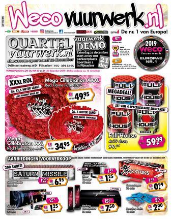 Quartel Vuurwerk reclame folder (geldig t/m 31-12)