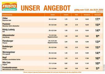 Fristo Getränkemarkt Prospekt (bis einschl. 25-01)