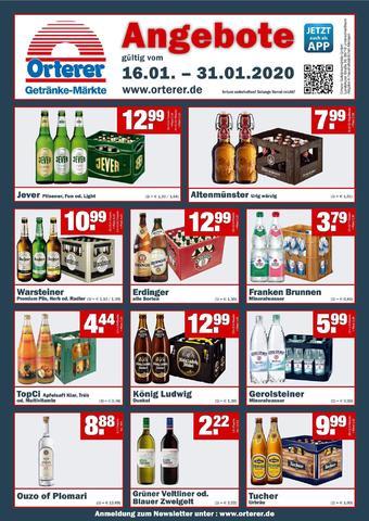 Orterer Getränkemarkt Prospekt (bis einschl. 31-01)