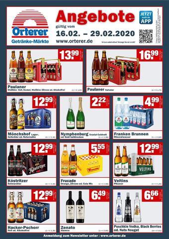 Orterer Getränkemarkt Prospekt (bis einschl. 29-02)