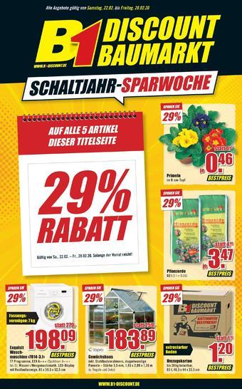 B1 Discount Baumarkt Prospekt (bis einschl. 28-02)
