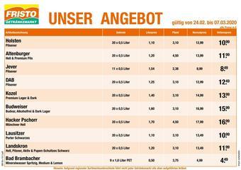 Fristo Getränkemarkt Prospekt (bis einschl. 07-03)