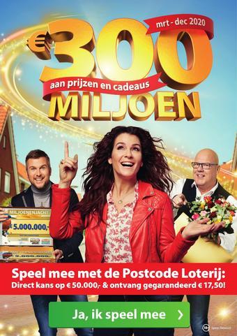 Nationale Postcode Loterij reclame folder (geldig t/m 11-04)