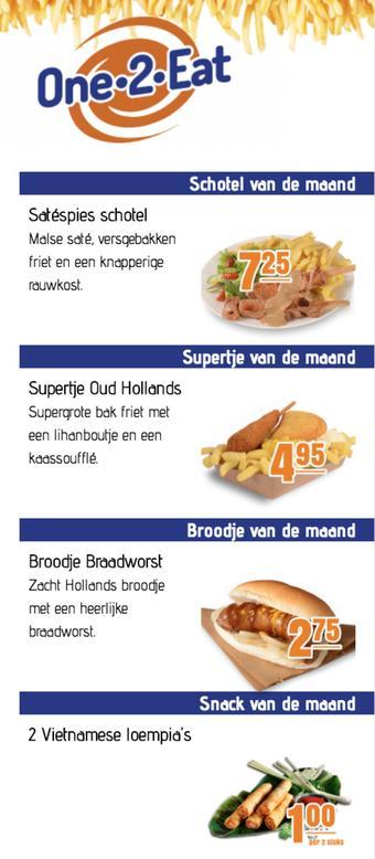 One 2 Eat reclame folder (geldig t/m 31-05)