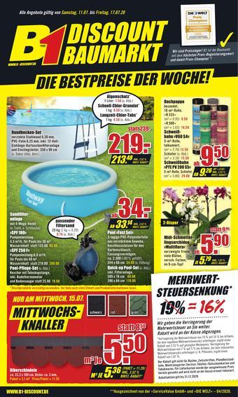 B1 Discount Baumarkt Prospekt (bis einschl. 17-07)