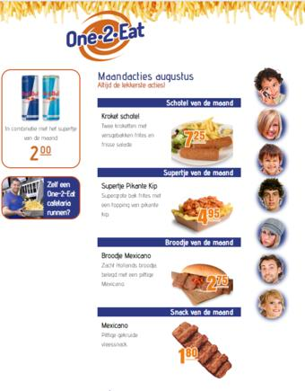 One 2 Eat reclame folder (geldig t/m 31-08)