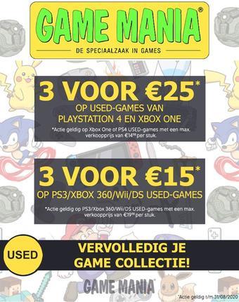 Game Mania reclame folder (geldig t/m 31-08)