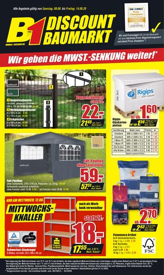 B1 Discount Baumarkt Prospekt (bis einschl. 14-08)