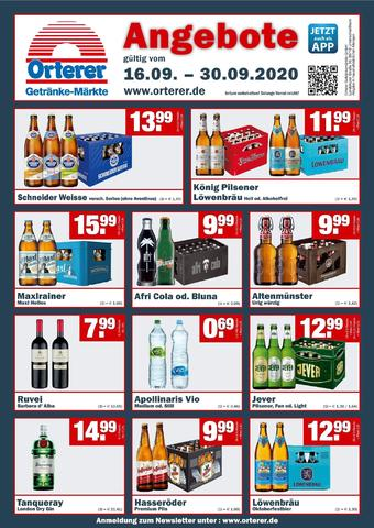 Orterer Getränkemarkt Prospekt (bis einschl. 30-09)