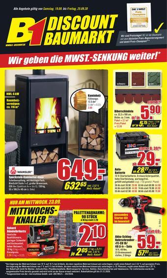 B1 Discount Baumarkt Prospekt (bis einschl. 25-09)