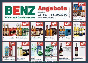 Benz Getränke Prospekt (bis einschl. 31-10)