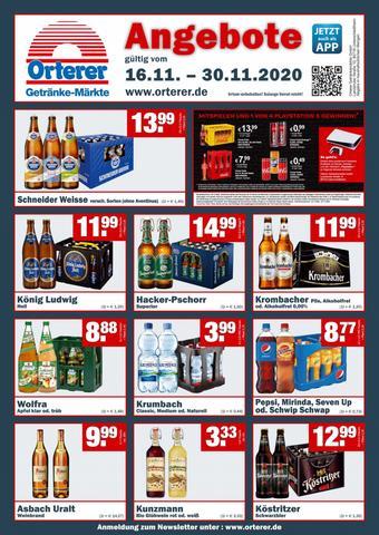 Orterer Getränkemarkt Prospekt (bis einschl. 30-11)