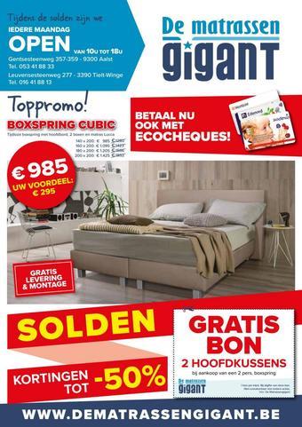 De Matrassen Gigant reclame folder (geldig t/m 31-01)
