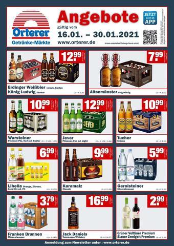 Orterer Getränkemarkt Prospekt (bis einschl. 30-01)