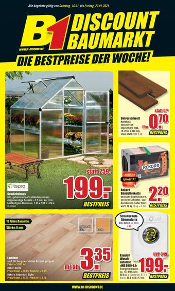 B1 Discount Baumarkt Prospekt (bis einschl. 22-01)