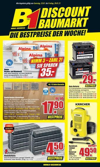 B1 Discount Baumarkt Prospekt (bis einschl. 29-01)