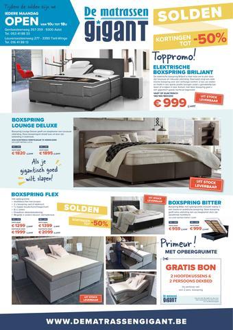 De Matrassen Gigant reclame folder (geldig t/m 25-08)