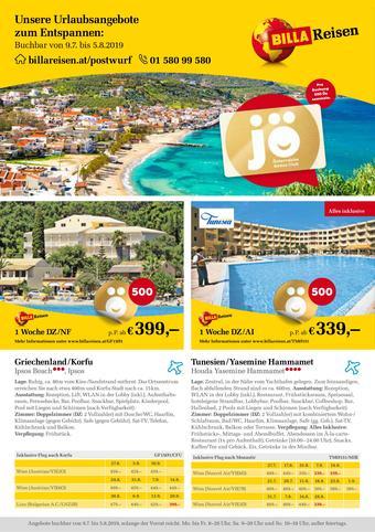 Billa Reisen Werbeflugblatt (bis einschl. 05-08)