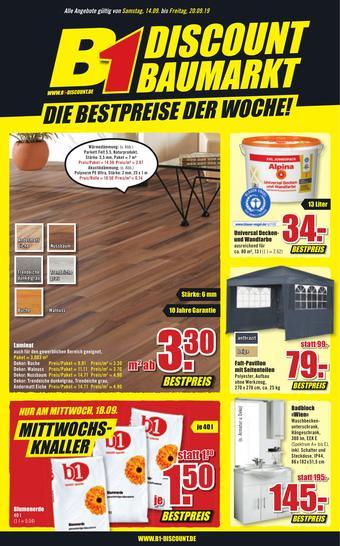B1 Discount Baumarkt Prospekt (bis einschl. 20-09)