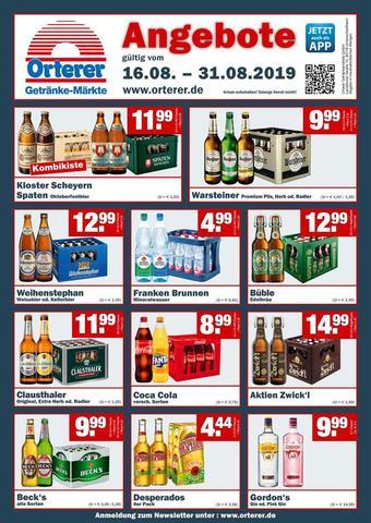 Orterer Getränkemarkt Prospekt (bis einschl. 31-08)