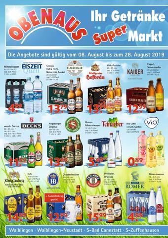 Obenaus Getränke Prospekt (bis einschl. 28-08)
