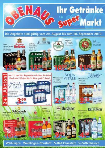 Obenaus Getränke Prospekt (bis einschl. 18-09)