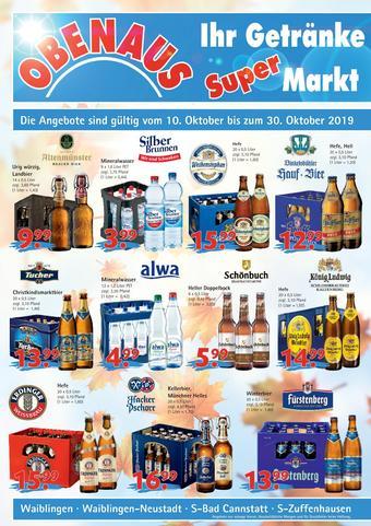 Obenaus Getränke Prospekt (bis einschl. 30-10)