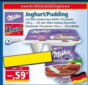 Milka Joghurt/Pudding becher