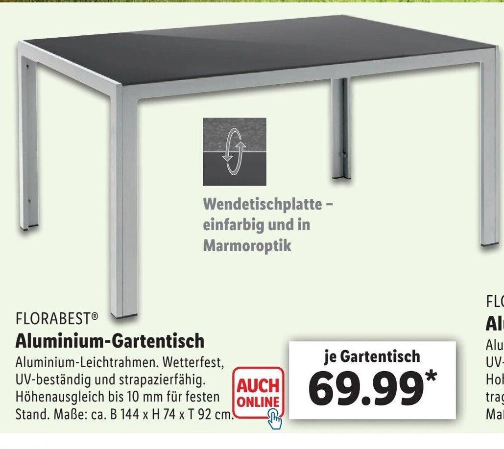 Florabest Aluminium Gartentisch Angebot Bei Lidl