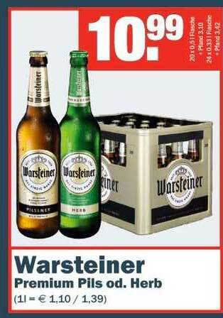 Warsteiner Premium Pils od. Herb 20 x 0,5L