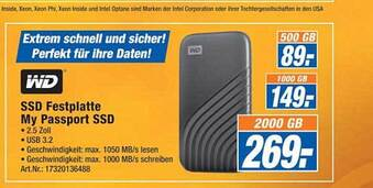 WD SSD Festplatte My Passport SSD 2000 GB