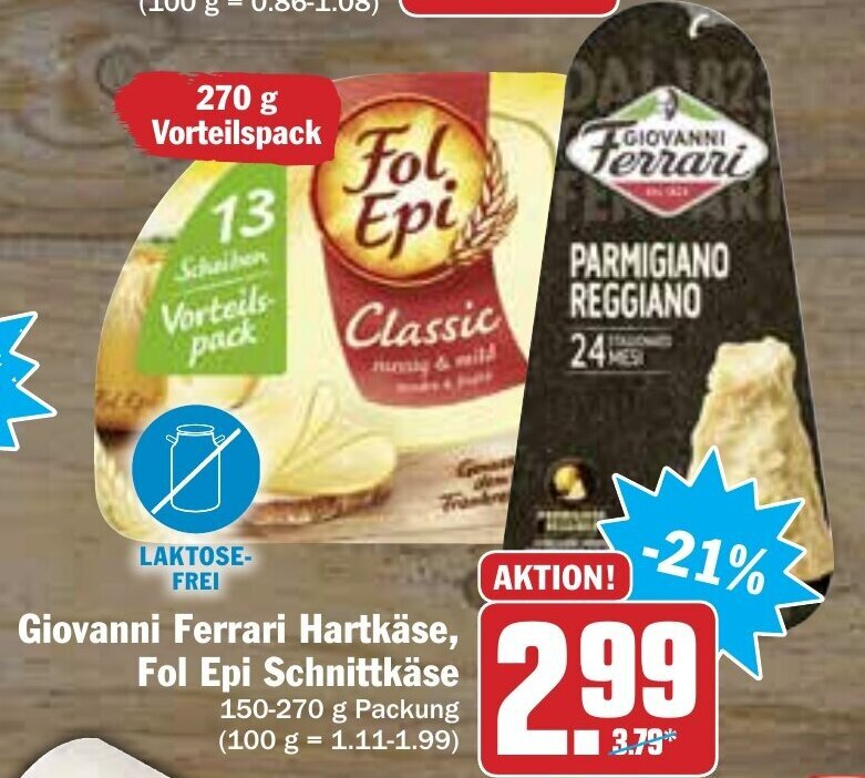 Giovanni Ferrari Hartkäse Fol Epi Schnittkäse Angebot Bei Hit