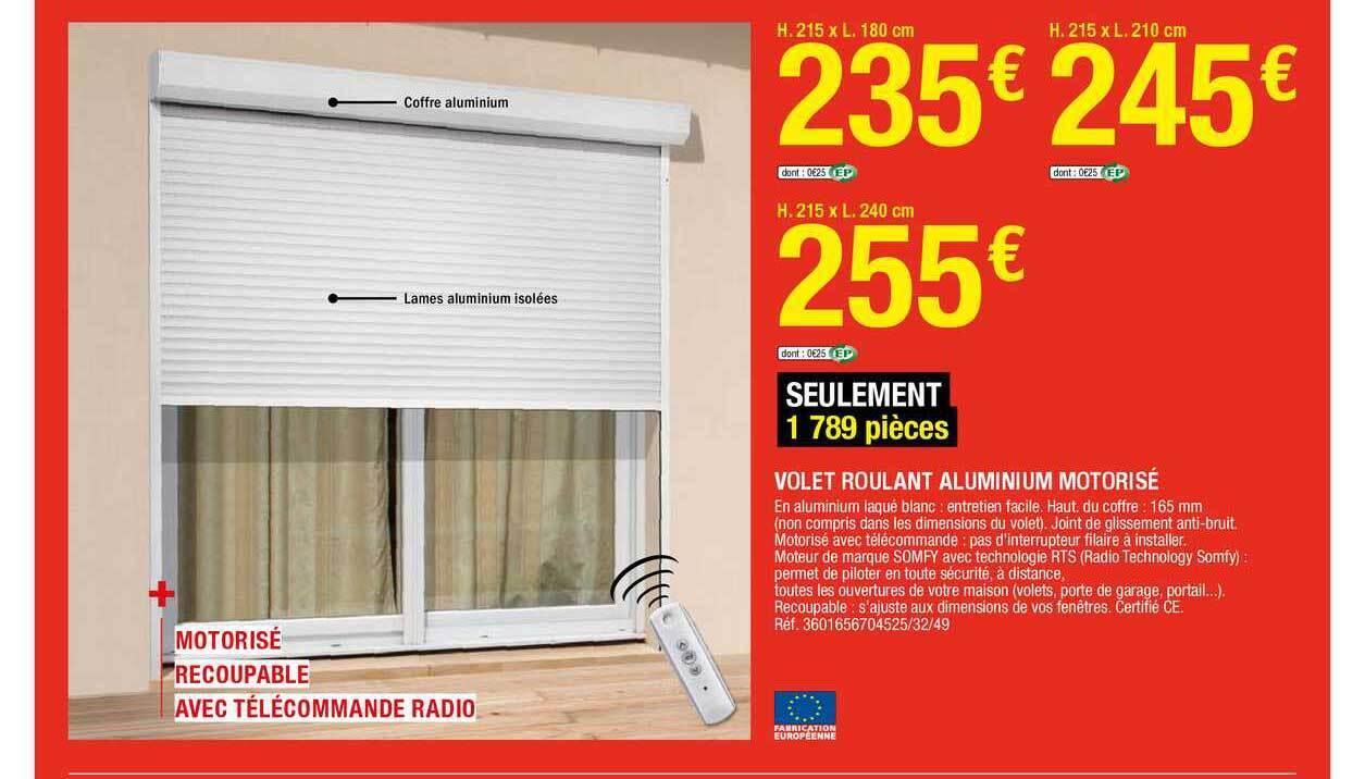 Promo Volet Roulant Aluminium Motorise Chez Brico Depot