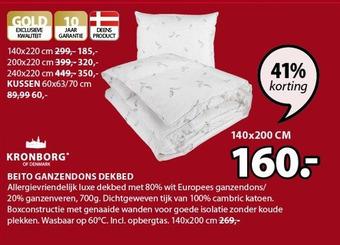 Kronborg of Denmark Beito Ganzendons Dekbed 140 x 200cm