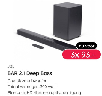 JBL BAR 2.1 Deep Bass draadloze subwoofer