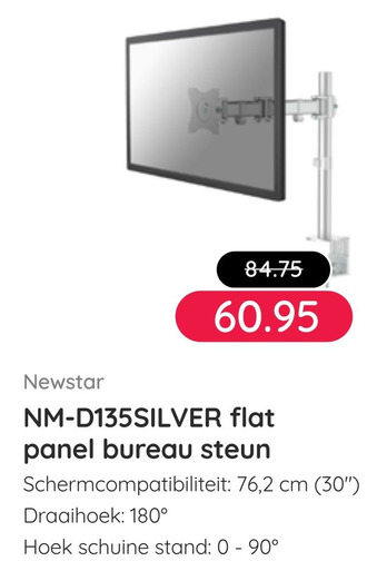 Newstar NM-D135SILVER flat panel bureau steun
