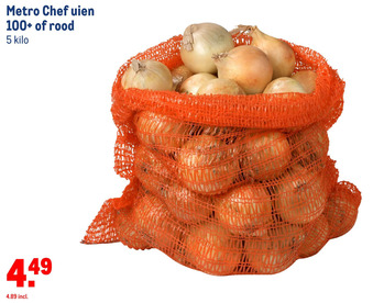 Metro Chef uien 100+ of rood 5 kilo