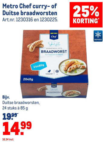 Metro Chef curry- of Duitse braadworsten 20400g