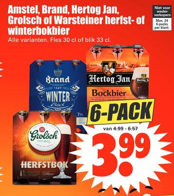 Amstel, Brand, Hertog Jan, Grolsch of Warsteiner herfst- of winterbokbier