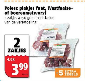 Poiesz plakjes fuet, Westfaalse- of boerenmetworst