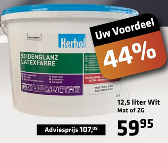 Herbol latex wit mat 12,5 kilo