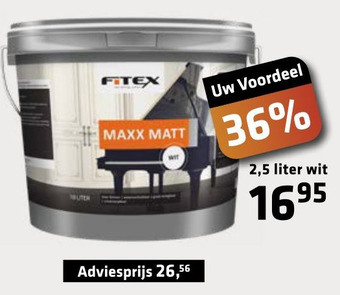 Fitex mat verf wit 2,5 liter