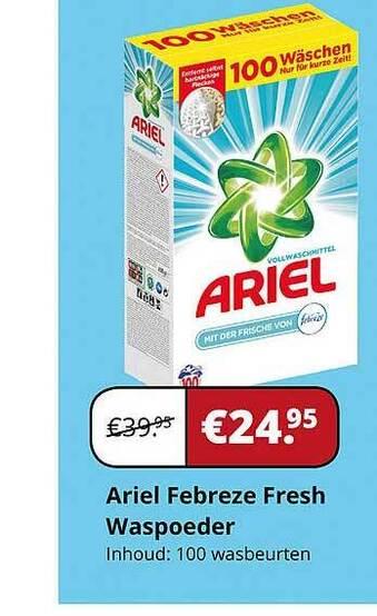Ariel Febreze Fresh Waspoeder Inhoud: 100 wasbeurten