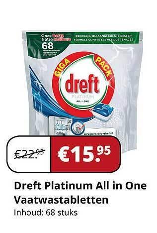 Dreft Platinum All in One Vaatwastabletten Inhoud: 68 stuks