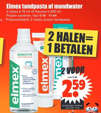 Elmex tandpasta 2 tubes of mondwater flacons