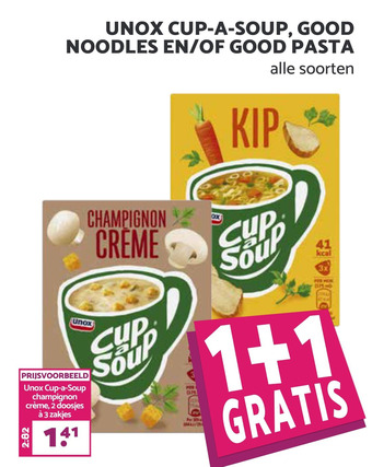 Unox cup-a-soup, good noodles en/of good pasta