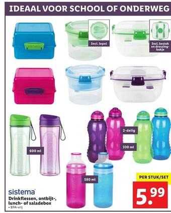 Sistema Drinkflessen, Ontbijt-, Lunch- Of Saladebox BPA vrij