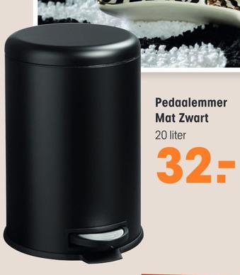 Pedaalemmer Mat Zwart 20liter