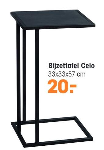 Bijzettafel Celo 33x33x57cm