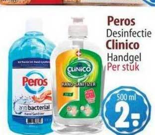 Peros Desinfectie en Clinico Handgel